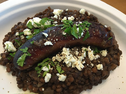 One Step Behind and Slow Cooked Italian Sausages with Lentils